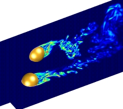 Turbulent flow past two spheres (vorticity) (Cgins)